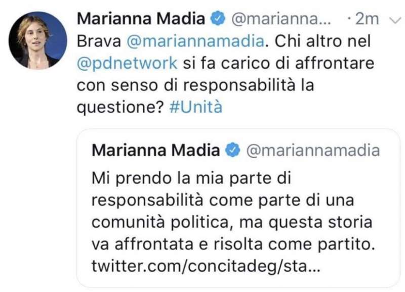 marianna madia gaffe social
